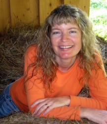 Cheryl at hay bale